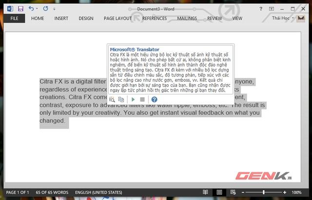 Kích hoạt tính năng dịch nhanh văn bản trong Word 2013 5