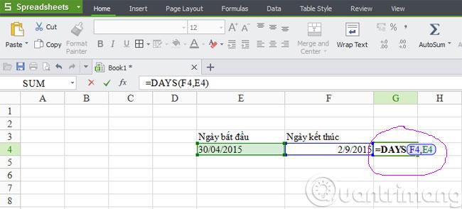 Hàm tính số ngày làm việc NETWORKDAYS
