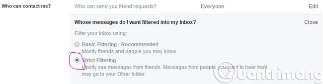 Facebook-strict-fitering